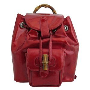 Gucci Bamboo Mini Backpack Red/Goldtone Patent Lea